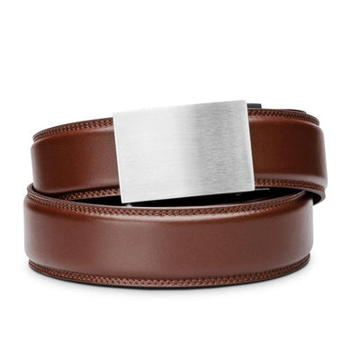 "Kore ""Eureka"" Solid Stainless Steel Ratchet Buckle & Cordovan Full-Grain Leather Track Belt.  No-Holes, ratchet belts fit perfect every time."