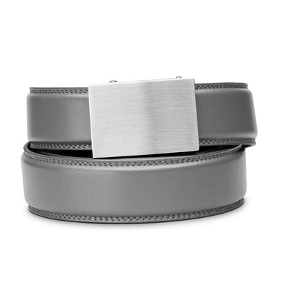 "Kore ""Eureka"" Solid Stainless Steel Ratchet Buckle & Gray Full-Grain Leather Track Belt.  No-Holes, ratchet belts fit perfect every time."
