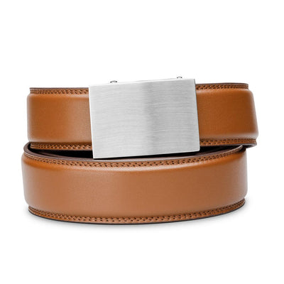 "Kore ""Eureka"" Solid Stainless Steel Ratchet Buckle & Tan Full-Grain Leather Track Belt.  No-Holes, ratchet belts fit perfect every time."