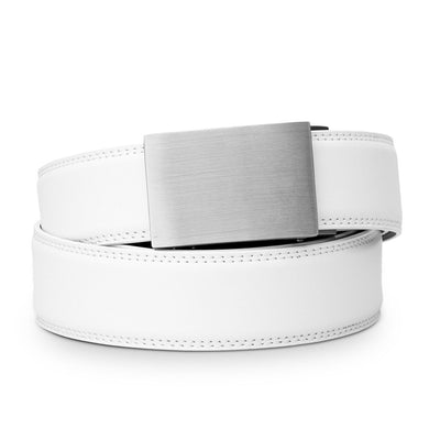 "Kore ""Eureka"" Solid Stainless Steel Ratchet Buckle & White Full-Grain Leather Track Belt.  No-Holes, ratchet belts fit perfect every time."