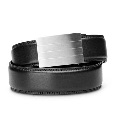 "Kore ""Evolve"" Solid Stainless Steel Ratchet Buckle & Black Full-Grain Leather Track Belt.  No-Holes, ratchet belts fit perfect every time."