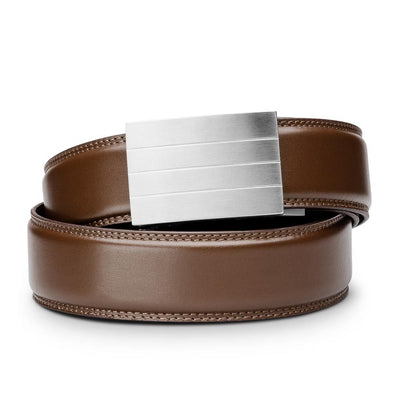 "Kore ""Evolve"" Solid Stainless Steel Ratchet Buckle & Brown Full-Grain Leather Track Belt.  No-Holes, ratchet belts fit perfect every time."