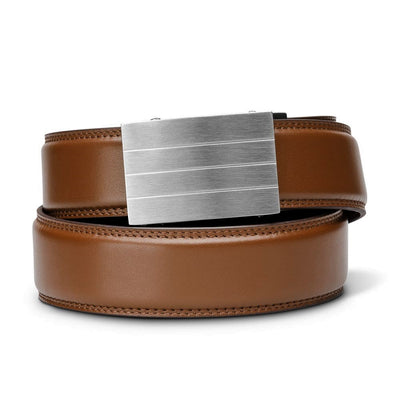"Kore ""Evolve"" Solid Stainless Steel Ratchet Buckle & Cognac Full-Grain Leather Track Belt.  No-Holes, ratchet belts fit perfect every time."