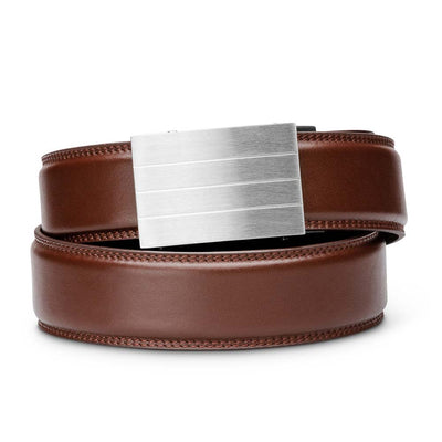 "Kore ""Evolve"" Solid Stainless Steel Ratchet Buckle & Cordovan Full-Grain Leather Track Belt.  No-Holes, ratchet belts fit perfect every time."