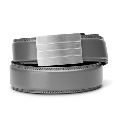 "Kore ""Evolve"" Solid Stainless Steel Ratchet Buckle & Gray Full-Grain Leather Track Belt.  No-Holes, ratchet belts fit perfect every time."