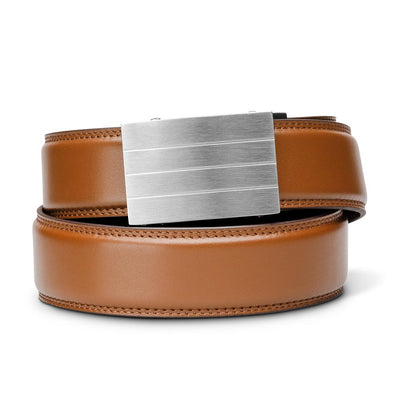 "Kore ""Evolve"" Solid Stainless Steel Ratchet Buckle & Tan Full-Grain Leather Track Belt.  No-Holes, ratchet belts fit perfect every time."