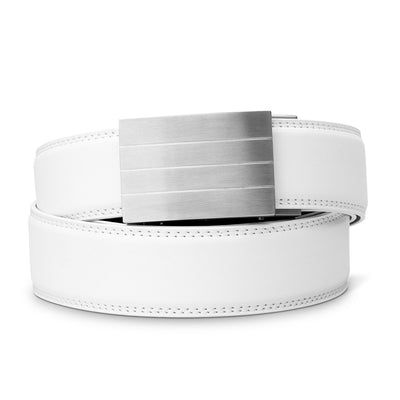 "Kore ""Evolve"" Solid Stainless Steel Ratchet Buckle & White Full-Grain Leather Track Belt.  No-Holes, ratchet belts fit perfect every time."