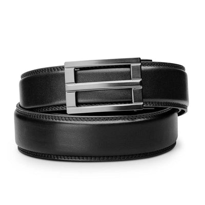 "Kore ""Excel"" Ratchet Buckle & Black Full-Grain Leather Track Belt.  No-Holes, ratchet belts fit perfect every time."