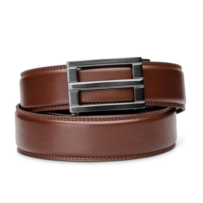 "Kore ""Excel"" Ratchet Buckle & Cordovan Full-Grain Leather Track Belt.  No-Holes, ratchet belts fit perfect every time."