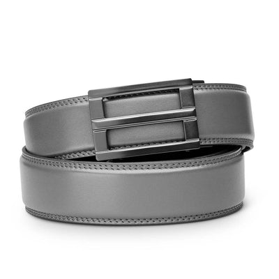 "Kore ""Excel"" Ratchet Buckle & Gray Full-Grain Leather Track Belt.  No-Holes, ratchet belts fit perfect every time."