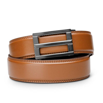 "Kore ""Excel"" Ratchet Buckle & Tan Full-Grain Leather Track Belt.  No-Holes, ratchet belts fit perfect every time."