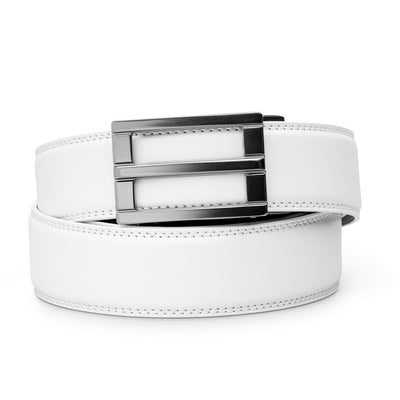 "Kore ""Excel"" Ratchet Buckle & White Full-Grain Leather Track Belt.  No-Holes, ratchet belts fit perfect every time."