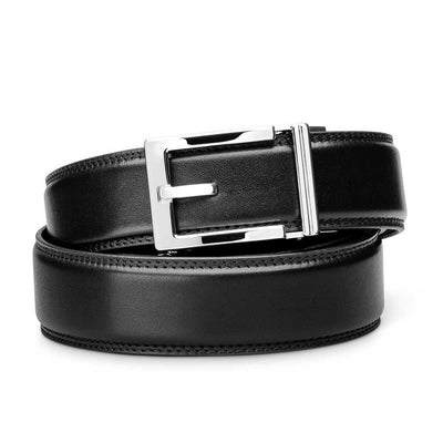 "Kore ""Express"" Chrome Ratchet Buckle & Black Full-Grain, Double-Stitched Leather Track Belt.  No-Holes, ratchet belts fit perfect every time."