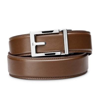 "Kore ""Express"" Chrome Ratchet Buckle & Brown Full-Grain, Double-Stitched Leather Track Belt.  No-Holes, ratchet belts fit perfect every time."