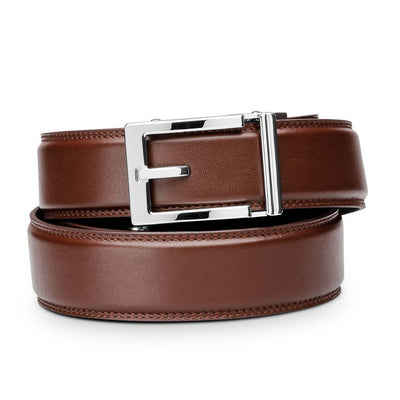 "Kore ""Express"" Chrome Ratchet Buckle & Cognac Full-Grain, Double-Stitched Leather Track Belt.  No-Holes, ratchet belts fit perfect every time."