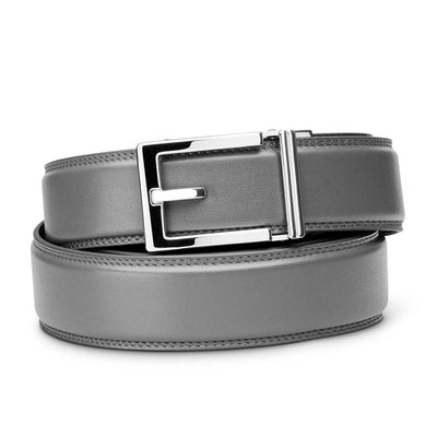 "Kore ""Express"" Chrome Ratchet Buckle & Gray Full-Grain, Double-Stitched Leather Track Belt.  No-Holes, ratchet belts fit perfect every time."