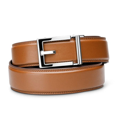 "Kore ""Express"" Chrome Ratchet Buckle & Tan Full-Grain, Double-Stitched Leather Track Belt.  No-Holes, ratchet belts fit perfect every time."