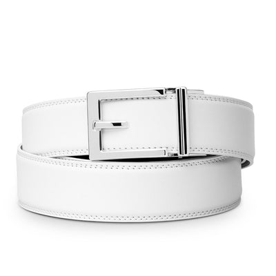 "Kore ""Express"" Chrome Ratchet Buckle & White Full-Grain, Double-Stitched Leather Track Belt.  No-Holes, ratchet belts fit perfect every time. Perfect golf belt."
