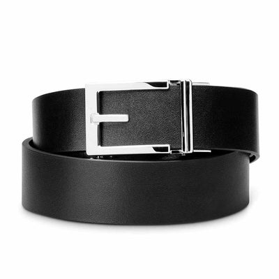 "Kore ""Express"" Chrome Ratchet Buckle & Black Top-Grain Leather Track Belt.  No-Holes, ratchet belts fit perfect every time."