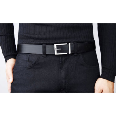 Express Chrome Buckle and Black Top-Grain Leather Belt.  No-hole men's track style belt by Kore Essentials.