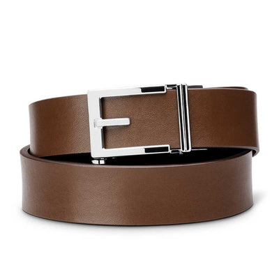 "Kore ""Express"" Chrome Ratchet Buckle & Brown Top-Grain Leather Track Belt.  No-Holes, ratchet belts fit perfect every time."