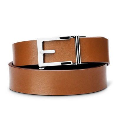 "Kore ""Express"" Chrome Ratchet Buckle & Tan Top-Grain Leather Track Belt.  No-Holes, ratchet belts fit perfect every time."