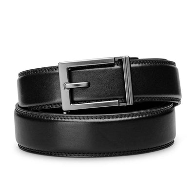 "Kore ""Express"" Gunmetal Ratchet Buckle & Black Full-Grain Leather Track Belt.  No-Holes, ratchet belts fit perfect every time."