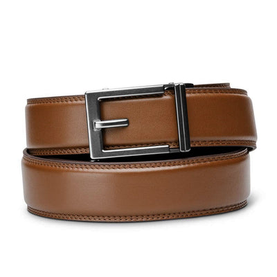 "Kore ""Express"" Gunmetal Ratchet Buckle & Cognac Full-Grain Leather Track Belt.  No-Holes, ratchet belts fit perfect every time."