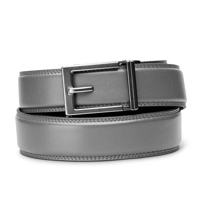 "Kore ""Express"" Gunmetal Ratchet Buckle & Gray Full-Grain Leather Track Belt.  No-Holes, ratchet belts fit perfect every time."