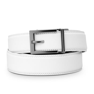 "Kore ""Express"" Gunmetal Ratchet Buckle & White Full-Grain Leather Track Belt.  No-Holes, ratchet belts fit perfect every time."