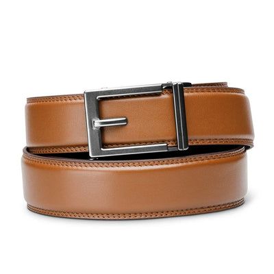 "Kore ""Express"" Gunmetal Ratchet Buckle & Tan Full-Grain Leather Track Belt.  No-Holes, ratchet belts fit perfect every time."