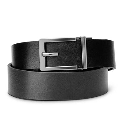 "Kore ""Express"" Gunmetal Ratchet Buckle & Black Top-Grain Leather Track Belt.  No-Holes, ratchet belts fit perfect every time."