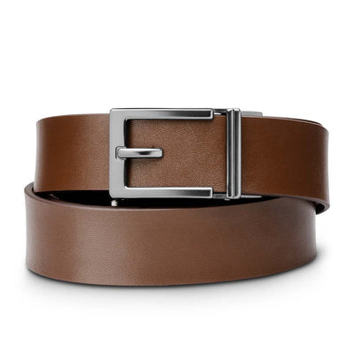 "Kore ""Express"" Gunmetal Ratchet Buckle & Brown Top-Grain Leather Track Belt.  No-Holes, ratchet belts fit perfect every time."