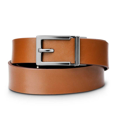 "Kore ""Express"" Gunmetal Ratchet Buckle & Tan Top-Grain Leather Track Belt.  No-Holes, ratchet belts fit perfect every time."