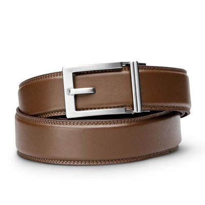 "Kore ""Express"" Nickel Ratchet Buckle & Brown Full-Grain, Double-Stitched Leather Track Belt.  No-Holes, ratchet belts fit perfect every time."