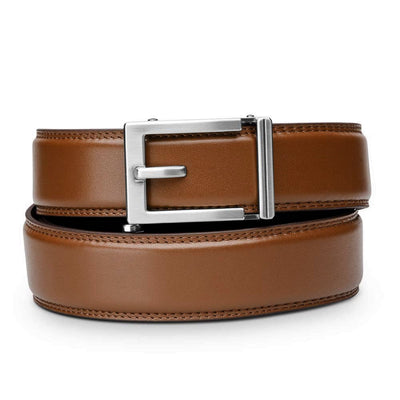 "Kore ""Express"" Nickel Ratchet Buckle & Cognac Full-Grain, Double-Stitched Leather Track Belt.  No-Holes, ratchet belts fit perfect every time."