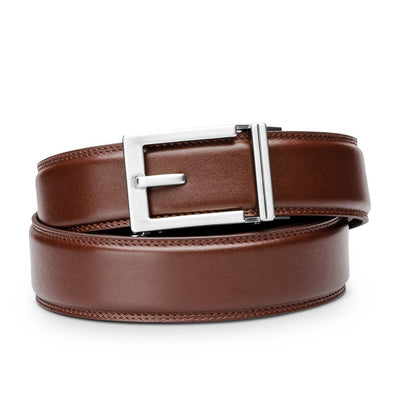 "Kore ""Express"" Nickel Ratchet Buckle & Cordovan Full-Grain, Double-Stitched Leather Track Belt.  No-Holes, ratchet belts fit perfect every time by Kore Essentials for men."