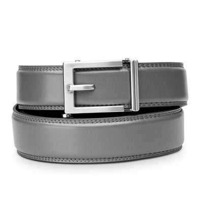 "Kore ""Express"" Nickel Ratchet Buckle & Gray Full-Grain, Double-Stitched Leather Track Belt.  No-Holes, ratchet belts fit perfect every time by Kore Essentials for men."