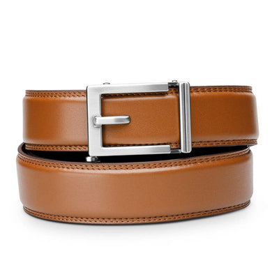 "Kore ""Express"" Nickel Ratchet Buckle & Tan Full-Grain, Double-Stitched Leather Track Belt.  No-Holes, ratchet belts fit perfect every time by Kore Essentials for men."