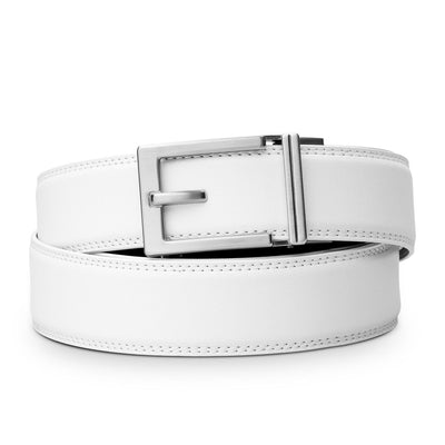 "Kore ""Express"" Nickel Ratchet Buckle & White Full-Grain, Double-Stitched Leather Track Belt.  No-Holes, ratchet belts fit perfect every time by Kore Essentials for men."