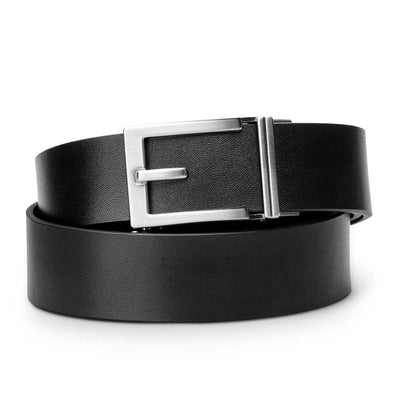 "Kore ""Express"" Nickel Ratchet Buckle & Black Top-Grain Leather Track Belt.  No-Holes, ratchet belts fit perfect every time."