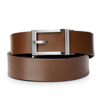 "Kore ""Express"" Nickel Ratchet Buckle & Brown Top-Grain Leather Track Belt.  No-Holes, ratchet belts fit perfect every time."