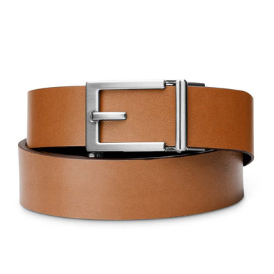 "Kore ""Express"" Nickel Ratchet Buckle & Tan Top-Grain Leather Track Belt.  No-Holes, ratchet belts fit perfect every time."