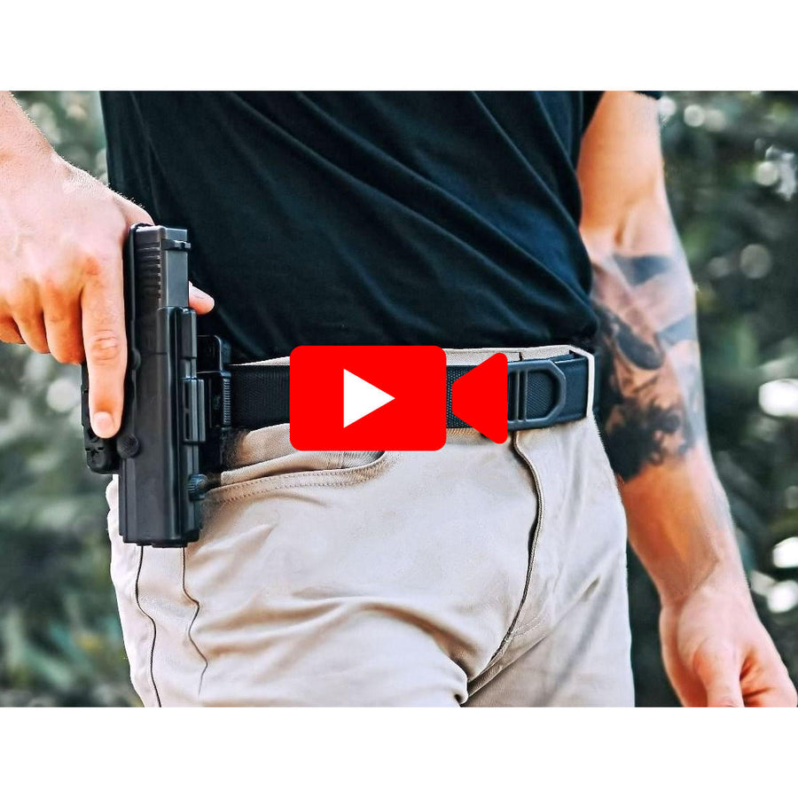 Kore Black Tactical Gun Belt for concealed carry (ccw) and edc. Nylon web reinforced belts for holstered pistols & firearms.