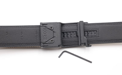 X6 BLACK BUCKLE | BROWN LEATHER GUN BELT