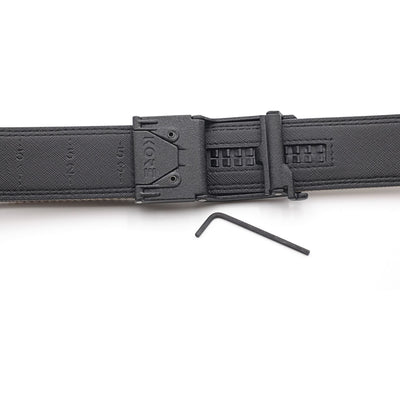 Kore EDC gun belt buckle - backside view with set screws and hex wrench