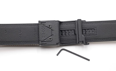Kore X5 gun belt buckle - backside view with set screws and hex wrench (included).  #tactical #gunbelt #edc #kore #ratchetbelt #trackbelt