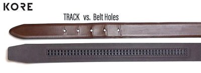 Kore no-hole, track belt versus a traditional belt with holes. Kore track belts are 800% more adjustable for a perfect fit.