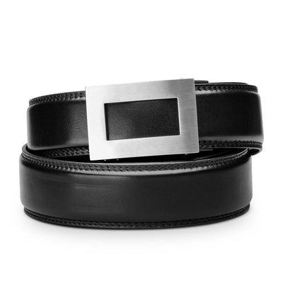 "Kore ""Icon"" Solid Stainless Steel Ratchet Buckle & Black Full-Grain Leather Track Belt.  No-Holes, ratchet belts fit perfect every time."