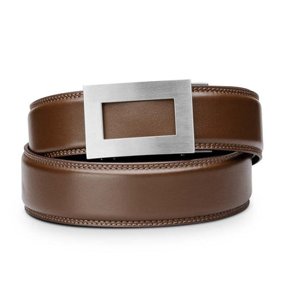 "Kore ""Icon"" Solid Stainless Steel Ratchet Buckle & Brown Full-Grain Leather Track Belt.  No-Holes, ratchet belts fit perfect every time."